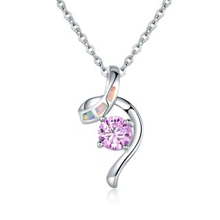 Peermont Jewelry Rhodium Plated Fire Opal and Pink Cubic Zirconia Pendant Necklace