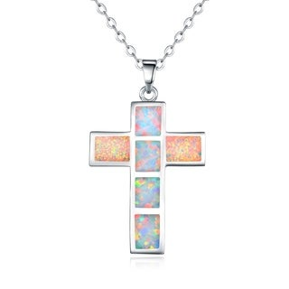 Rhodium Plated Fire Opal Cross Pendant Necklace