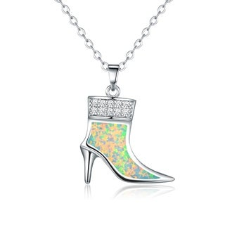 Peermont Jewelry Rhodium Plated Fire Opal Shoe Pendant Necklace