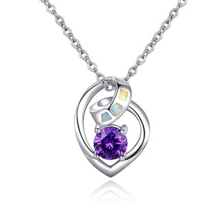 18k White Gold Plated Fire Opal and Cubic Zirconia Pendant Necklace