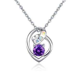Rhodium Plated Fire Opal and Cubic Zirconia Pendant Necklace