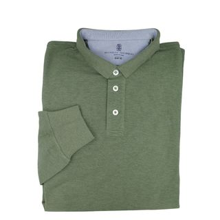 Brunello Cucinelli Long Sleeve Green Polo