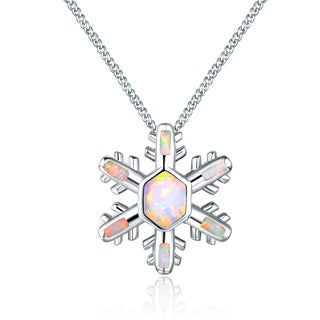 Rhodium Plated Fire Opal Snowflake Pendant Necklace - Silver
