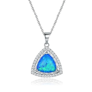 Peermont Jewelry Rhodium Plated Blue Opal Pendant Necklace