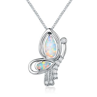 Peermont Jewelry Rhodium Plated Fire Opal and Cubic Zirconia Butterfly Pendant Necklace