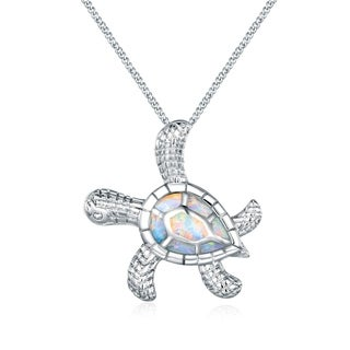 Peermont Jewelry 18-karat White Gold Overlay Fire Opal Textured Turtle Necklace