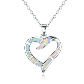 Peermont Jewelry Rhodium Plated Fire Opal Heart Pendant Necklace