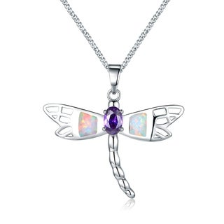 Peermont Jewelry 18k White Gold Overlay Fire Opal and Cubic Zirconia Dragonfly Pendant Necklace