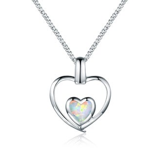 Rhodium Plated Fire Opal Double Heart Pendant Necklace