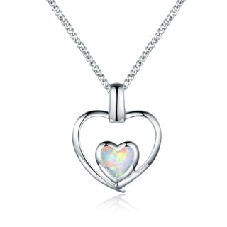 18K White Gold Plated Fire Opal Double Heart Pendant Necklace