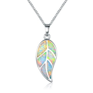 Peermont Jewelry 18-karat White Gold-plated Fire Opal Leaf Pendant Necklace