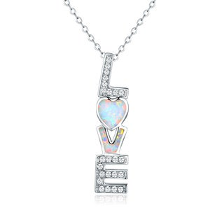 Peermont Jewelry 18k White Gold-plated Fire Opal 'Love' Heart Pendant Necklace
