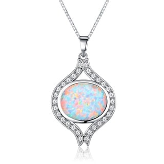 Peermont Jewelry Rhodium Plated Brass Fire Opal Oval Pendant Necklace
