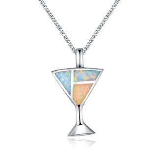 Peermont Jewelry 18k White Gold Overlay Fire Opal Martini Glass Pendant Necklace
