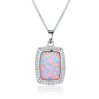 Peermont Jewelry Rhodium Plated Fire Opal Pendant Necklace