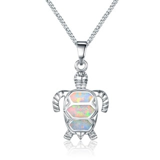 Peermont Jewelry Rhodium Plated over Silvertone and Opal Turtle Pendant Necklace