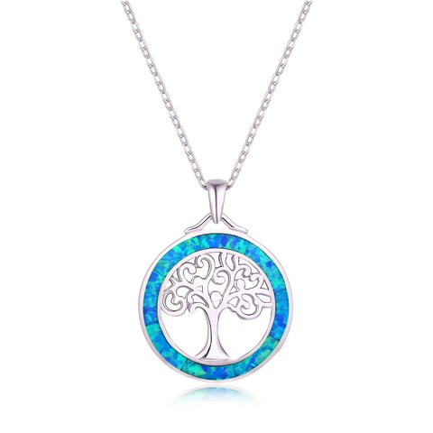 Fire Opal Tree of Life Pendant Necklace