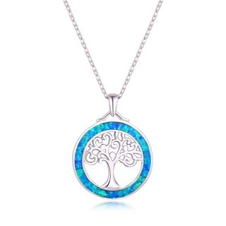 Peermont Jewelry 18k White Gold over Silver and Fire Opal Tree of Life Pendant Necklace