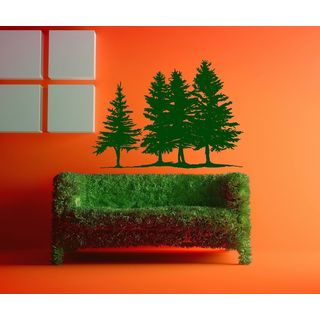 Pine Trees Wall Decal Forest Landscape Nature Vinyl Sticker Decal size 33x45 Color Black