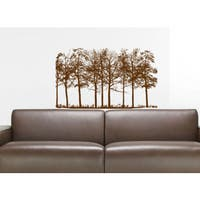 Pine Trees Wall Decal Forest Landscape Nature Vinyl Sticker Decal Size 22x30 Color Black