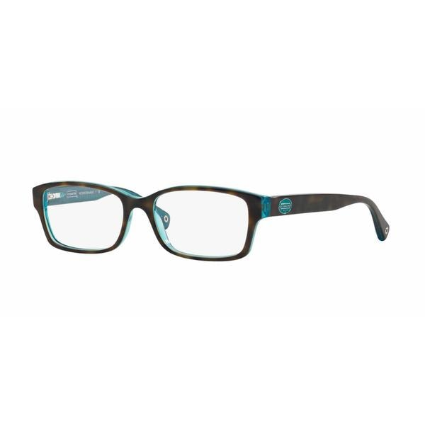 19f7a82d1fa4 Coach Womens HC6040 BROOKLYN 5116 Havana Plastic Rectangle Eyeglasses - Blue