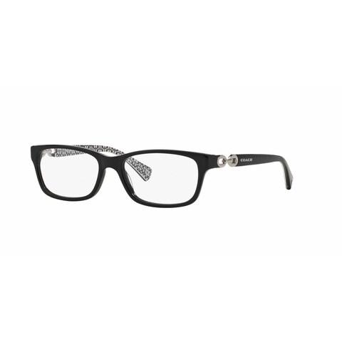 Coach Womens HC6052 FANNIE 5214 Black Plastic Rectangle Eyeglasses