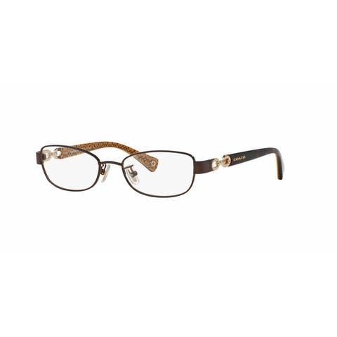 aeb7a26310 Coach Womens HC5054 FAINA 9187 Brown Metal Rectangle Eyeglasses