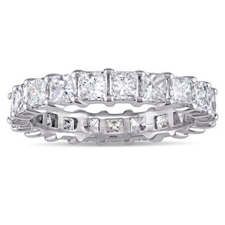 Miadora Signature Collection 14k White Gold 3ct TDW Princess-Cut Diamond Eternity Band