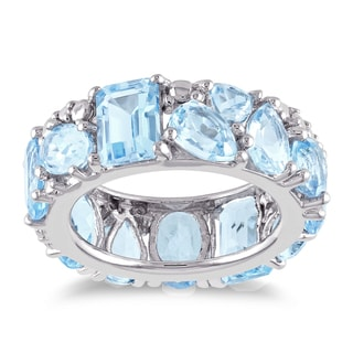 Miadora Sterling Silver Oval Pear Trilliant Round and Octagon-Cut Sky Blue Topaz Abstract Cluster Full Eternity Band
