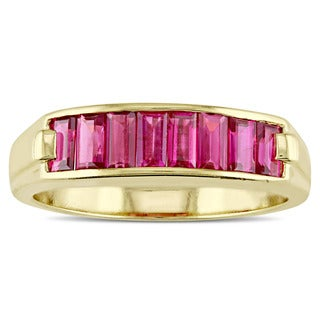 Miadora Signature Collection 14k Yellow Gold Baguette-Cut Ruby Semi Eternity Ring