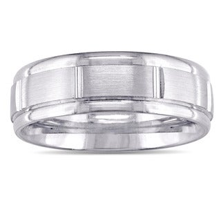 Miadora 14k White Gold Satin Finish Men's Wedding Band