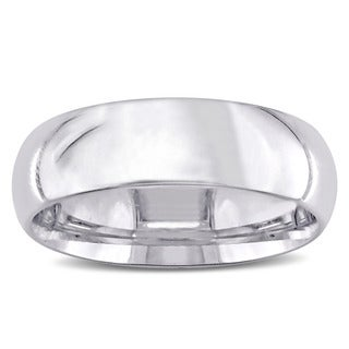 Miadora 14k Polished White Gold Men's Wedding Band