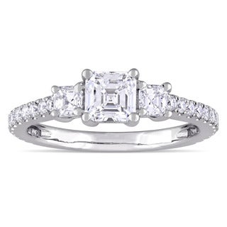Miadora Signature Collection 14k White Gold 1 1/8ct TDW Asscher and Round-Cut Diamond Engagement Ring (G-H, V-S)
