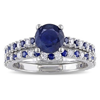 Miadora Signature Collection 14k White Gold 3/8ct TDW Diamond and Sapphire Bridal Ring Set
