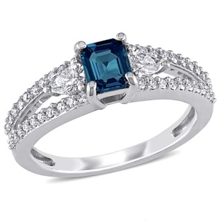 Miadora Signature Collection 14k White Gold Octagon-Cut Sapphire and 1/2ct TDW Diamond Engagement Ring (G-H, I1-I2)