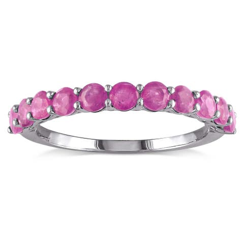 Miadora Sterling Silver Created Pink Sapphire Semi-Eternity Ring