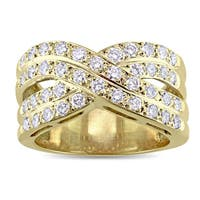 Miadora Signature Collection 18k Yellow Gold 1ct TDW Diamond Double Crossover Ring