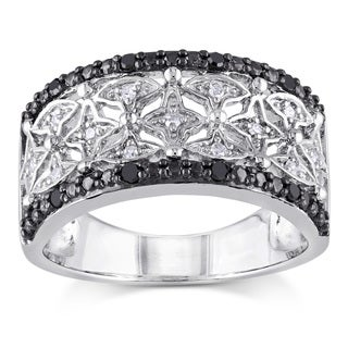 Miadora Sterling Silver and Black Rhodium 1/7ct TDW Black and White Diamond Four-Pont-Star Anniversary Ring (G-H, I2-I3)