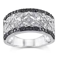 Miadora Sterling Silver and Black Rhodium 1/7ct TDW Black and White Diamond Four-Pont-Star Anniversa