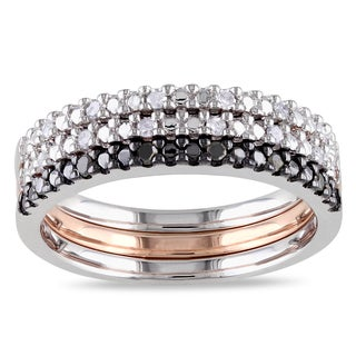 Miadora 3-Tone White Rose and Black Rhodium Sterling Silver 1/5ct TDW Black White Diamond Anniversary Band Set (H-I, I2-I3)