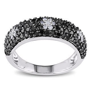 Miadora Sterling Silver and Black Rhodium-Plating 1ct TDW Black and White Diamond Triple Flower Statement Ring (G-H, I2-I3)