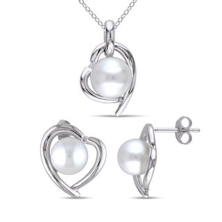 Miadora Sterling Silver Cultured Pearl Diamond Accent Heart Halo Stud Earrings and Necklace Set (8-9mm) (G-H, I2-I3)