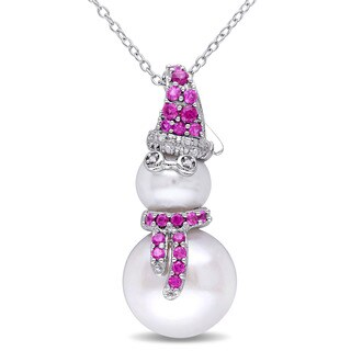 Miadora Sterling Silver Cultured Freshwater Pearl and Created Ruby Diamond Accent Snowman Necklace (8-12.5mm) (G-H, I2-I3)