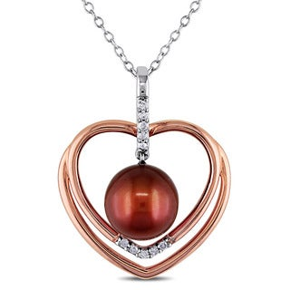 Miadora White and Rose Plated Sterling Silver Cultured Freshwater Brown Pearl Diamond Heart Necklace (8-8.5mm) (G-H, I2-I3)