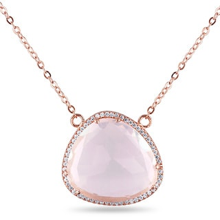 Miadora Rose-Plated Sterling Silver Fancy-Cut Rose Quartz and White Topaz Halo Necklace