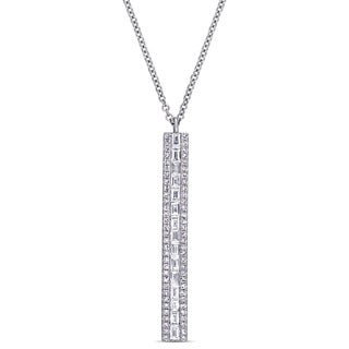 Miadora Signature Collection 14k White Gold 1/2ct TDW Diamond Vertical Bar Dangle Necklace (G-H, SI1-SI2)