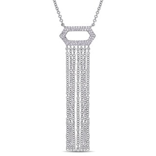 Miadora Signature Collection 14k White Gold 1/6ct TDW Diamond Vertical Bar Dangle Necklace (G-H, SI1-SI2)
