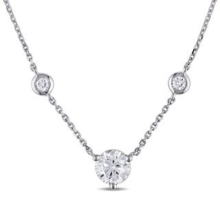 Miadora Signature Collection 14k White Gold 1 1/5ct TDW Diamond Station Necklace (G-H, SI1-SI2)
