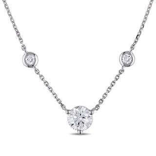 Miadora Signature Collection 14k White Gold 1 1/5ct TDW Diamond Station Necklace