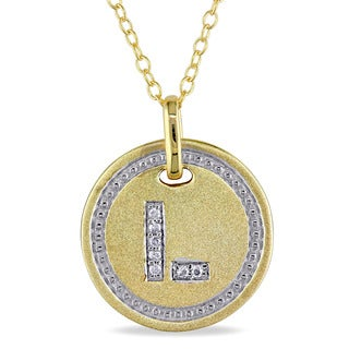 Miadora Yellow-Plated Sterling Silver Diamond Accent Initial-L Halo Charm Necklace